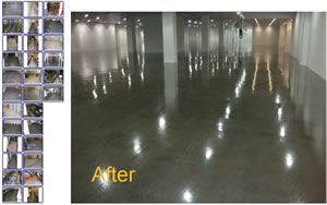 before and after - commercial and industrial flooring samples